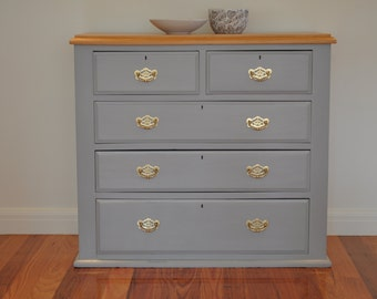Antique/vintage five drawer chest of drawers - solid brass handles and sealed pine top