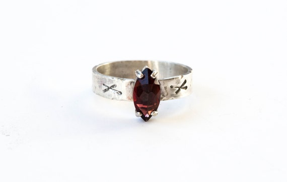 Marquise garnet sterling silver viking engagement ring, viking rune promise ring, nauthiz ring