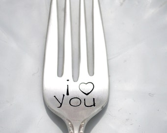 Stamped Fork I Love You Vintage Engraved Silverware Dessert Forks Romantic Gifts Under 15 Personalized Funny Flatware