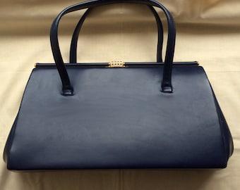 Vintage 50s 60s navy blue  leatherette frame handbag. Metal frame.