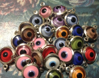 Color mix of evil eye links and charms 28 pcs