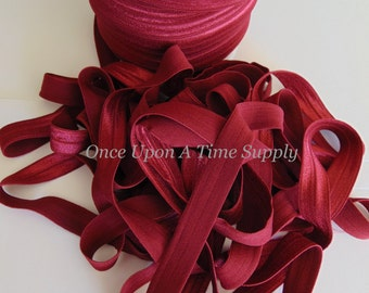 Maroon Red Fold Over Elastic for Baby Headbands -- 5 Yards of 5/8 inch FOE - Craft Embellishment - Solid Color Dark Elastic By The Yard