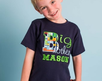 Boy's Plaid 'Big Brother' Shirt with Embroidered Name - F81