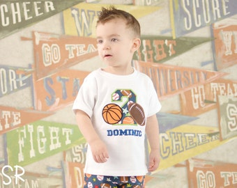 Boy's Football Basketball Sports Birthday Shirt with Sports Number and Name