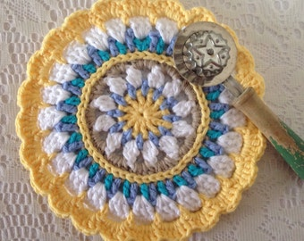 Potholder/ Hot Pad/ Trivet - 1 Crocheted, Multi-colored Hot Pad / Trivet - Beautiful Gift For Her