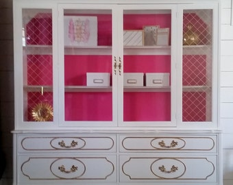 White China Cabinet white and gold cabinet glass door storage cabinet