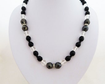 Vintage Clear Black and Grey Faceted Glass Bead Necklace 1970s New Old Stock