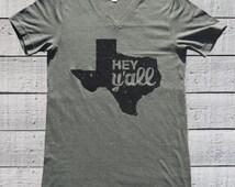 Texas Shirt, Hey Y'all, Texas Glitter T Shirt, Bella and Canvas Unisex V Neck Tee