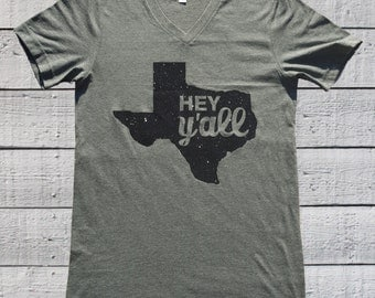 Texas Shirt, Hey Y'all, Texas Glitter T Shirt, Bella and Canvas Unisex V Neck Tee.