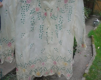 See-through, white, short sleeve,  pastel floral shirt - cut-outs, pearl buttons, Peter Pan collar, scalloped - girly, fairy style - medium