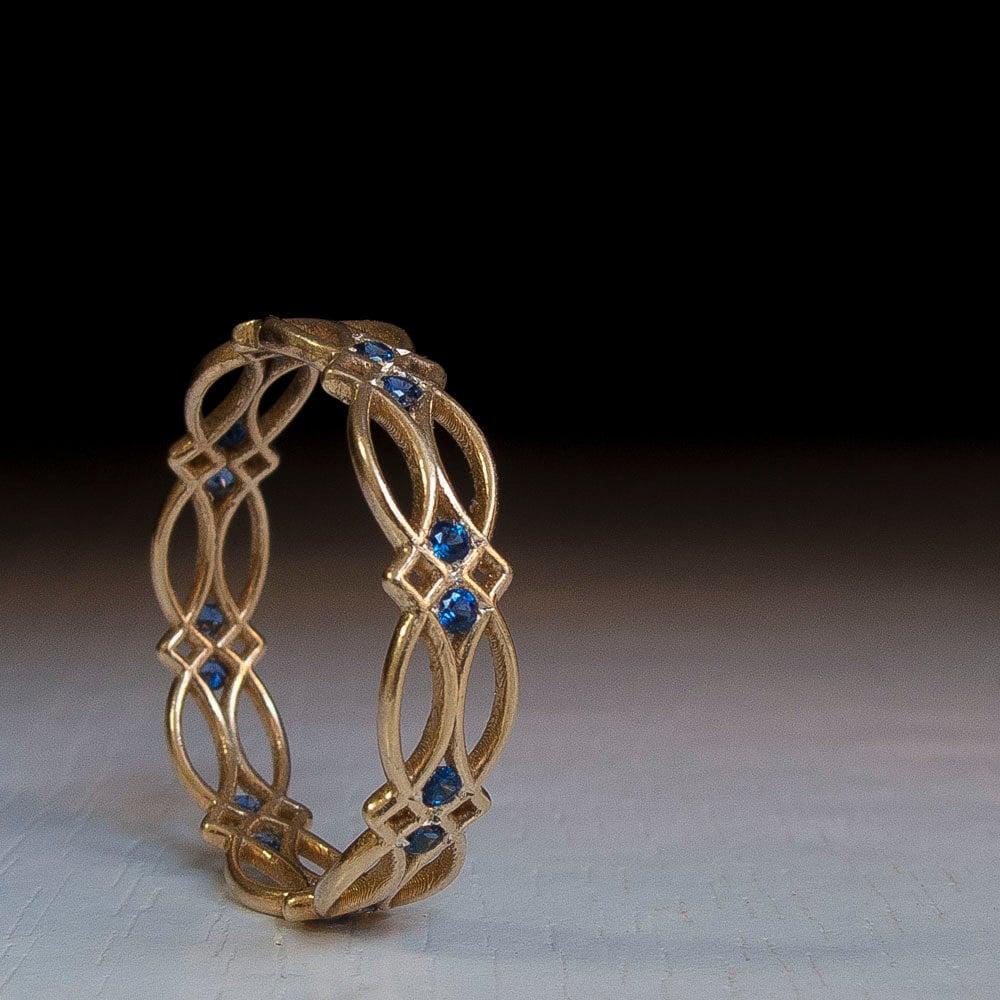 Celtic Ring Eternity Ring Sapphire Ring Blue Stones Ring