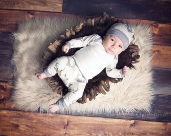 Baby Boy Outfit for Coming Home  - Hunting - Coming Home - Grey Deer