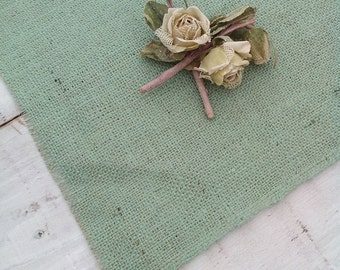 "Green Table Toppers - Table Toppers - Colored Burlap Centerpieces - Burlap Wedding Squares 12"" X 12"" - Set of 12 - 3 colours choose"