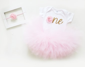 Baby Girl Birthday Outfit | 1st Birthday Girl Outfit | Gold One 1st Birthday Outfit | First Birthday Outfit Girl | Pink and Gold