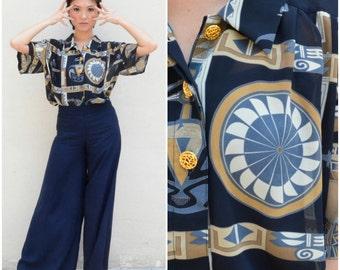 1980 Vintage Shirt/ Gatsby Tribal Shirt/ Medium Shirt/ Oversize Shirt/ Sheer Shirt/ Japanese Vintage/ Black Blouse/ Button Down Shirt/ 80's