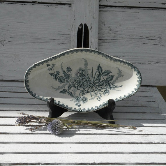Antique ironstone teal ravier - ironstone side plate - French transferware - shabby chic - cottage chic - country home - French antique
