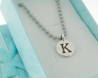 Antique Silver Pewter Initial Charm Necklace.  Initial Necklace. Initial Charm. Initial Jewelry. Letter K Necklace.  Letter K Charm.