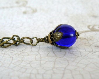 Cobalt Blue Necklace, Dark Blue Glass Bead Pendant, Romantic Jewelry, Vintage Style Jewelry, Blue and Antique Brass Pendant
