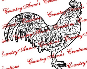 """SVG PNG DXF Eps Ai Wpc Cut file for Silhouette, Cricut, Pazzles - """"Rooster Zentangle"""" svg"""