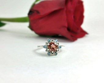 Peach Pink Tourmaline and Tanzanite Ring in Sterling Silver Unique Natural Gemstone Ring with Free Shipping