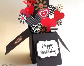 3-D Pop Up Box Birthday Card Butterfly Hearts and Flowers Design