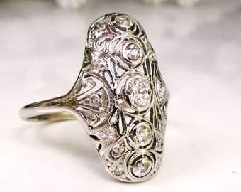 Platinum Edwardian Art Deco Engagement Ring Old Mine Cut Diamond Filigree Navette Antique Engagement Ring 0.50ctw Diamond Wedding Ring