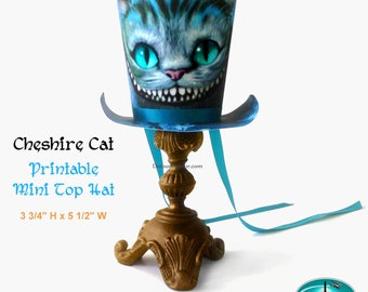 1/2 OFF COUPON CODE Printable Top Hat Smiling Cheshire Cat Top Hat, Movie Version Cheshire Cat, Mini Top Hat, Mad Hatter Tea Party Top Hat