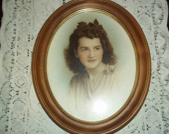 Vintage Young Lady Black & White Photography Colorized 1940's Picture Oval Frame Gold Acccent Trim Ready to Hang  Collectible