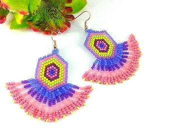 Beaded earrings Long earrings Dangle earrings Pink earrings Lilac earrings Girlfriend gift For girl Cute earrings chandelier earrings