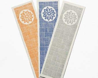 Lot of 3 bookmarks printed in linocut - Motif feur