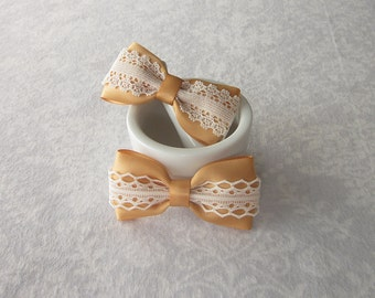 Gold Satin & Off-White Ivory Lace Bow, Hair Accessory, Barrette, Ponytail, Clip, Toddler, Little Girl, School, Photos, Dark Antique Gold