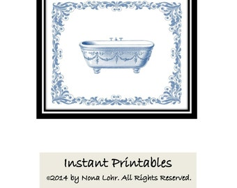 Vintage Bathroom Decor Blue Wall Decor Art Print INSTANT DOWNLOAD Digital Bathtub 8x10 Old Picture