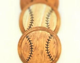 Wooden baseball coasters - Hand burned - Set of 4