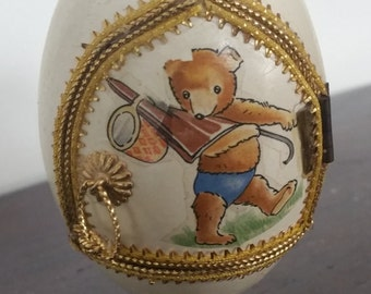 Vintage Faberge Style Hand Decorated Goose Egg With Teddy Bear Inside