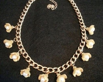 Handmade Golden Buttercup Necklace with Freshwater Pearls