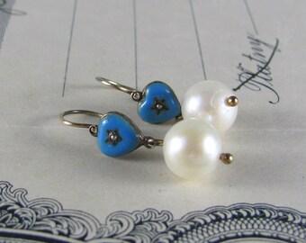VICTORIAN blue enamel and pearl heart earrings, antique star earrings, dangle earrings, petite earrings, child's earrings, wedding earrings.