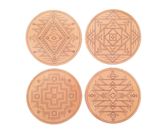Southwestern Leather Coasters / Set of 4 / Handcrafted in Portland, Oregon
