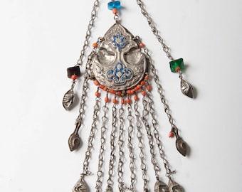 Uzbek Central Asian temporal or temple pendant silver 19th C