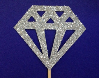 12 Diamond Glitter Cupcake Toppers - Engagement Party Decorations - Birthday - Princess