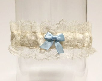 """EMMA   (ivory) lace wedding garter with """"something blue"""" bow"""