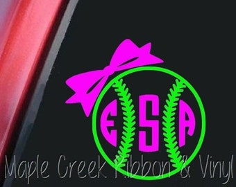 """Softball Bow Circle Monogram, 3 Letter Monogram Decal. Choose from 19 colors. No background. 6"""" wide"""