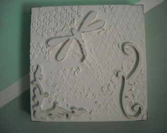Tactile picture, white, wooden decorative elements: friezes and Dragonfly OOAK