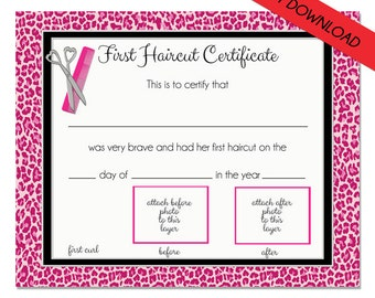 First haircut certificate baby first haircut photo certificate first haircut certificate cheetah baby first haircut photo certificate instant download psd file diy 8 x 10 high quality 300 dpi yelopaper Gallery