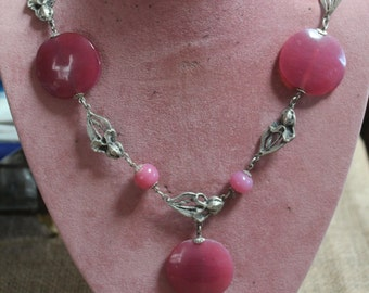 Victorian Hand designed Rose Quartz Necklace With Sculpted Sterling Silver Irises