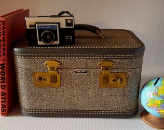 Vintage Gray Tweed Train Case, American Tourister, 50s 60s