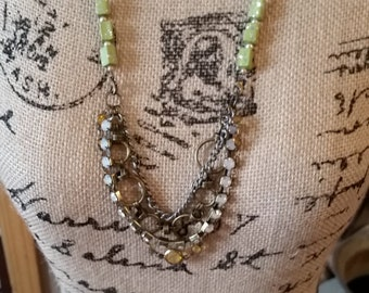 Adventure Is Out There Green Bead Necklace with Antique Brass chains