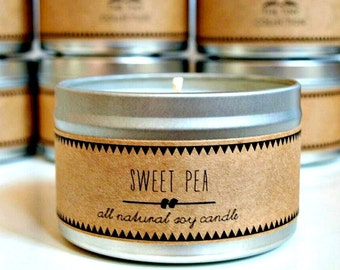 SWEET PEA Soy Candle. Natural Candle. Scented Candle. Eco Friendly. Vegan Friendly. Natural Gift. Custom Gift.
