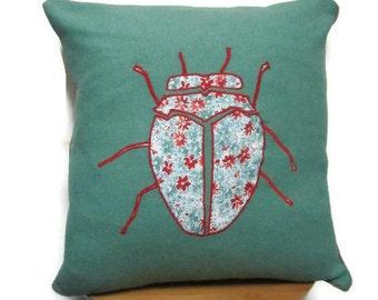 SALE Appliqué Cushion in Tweed, Appliqué Pillow in Tweed, Cushion with piping, Pillow with piping, Beetle Cushion, Beetle Pillow