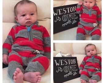 Twelve Months of Baby Chalkboard Signs, Chalkboard Signs, Paper Good, Baby Signs, 12 month signs, Baby Chalkboards