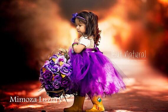Purple Flower girl dress, tutu dress,bridesmaid dress, princess dress, crochet top tulle dress, hand knit top tutu dress